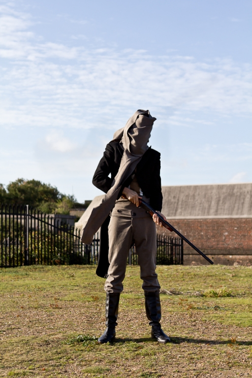 Harminder Judge > Gun Salute for Feature Film On Landguard Point 2012 ////// Cultural Olympiad ////// Pacitti Company ////// Music by Michael Nyman ////// performance, gun salute, costume, shotgun